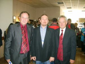 A photograph with Artur Kharinskiy (left) Professor of History and Philosophy at Irkutsk State Technical University, and Mr Vladimir Tikhonov, Director of Talesy open air Museum of History and Ethnography (right).