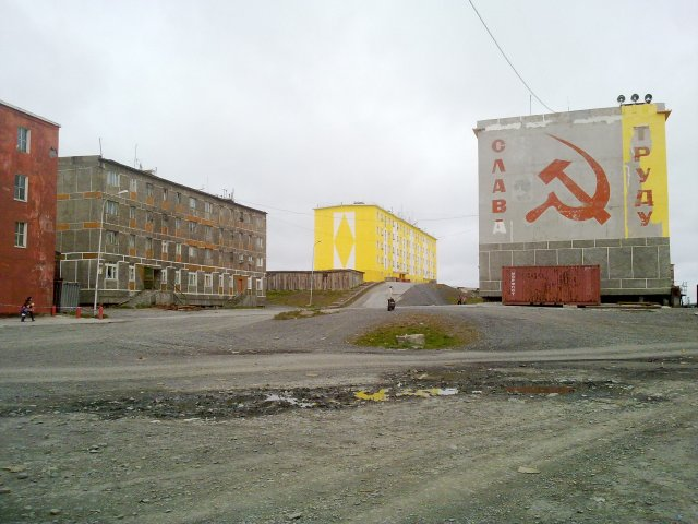 Tiksi central square. Soviet past and fresh paint in a wild frontier town in the Arctic