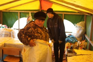 Svetlana Anatolievna Donskaia inside of the tent that became the children's camp public space