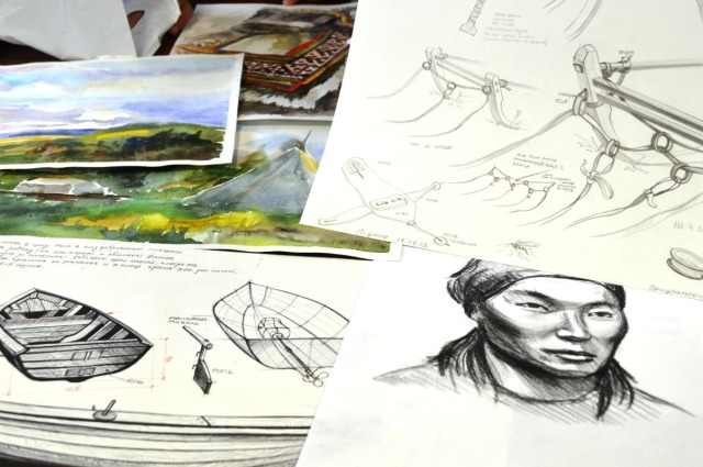 Preliminary results: observational drawings (Photo by L. Kelchina)