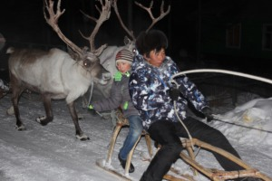 Evenki reindeer herders from Iengra drove 3 hours from the forest to see us as a group and talk about land use