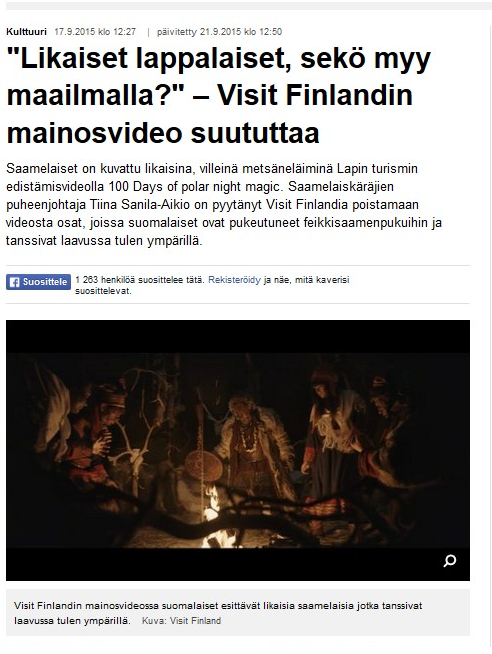 The article published in the YLE Sámi website