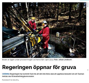 Regeringen öppnar gruva